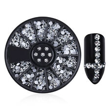 Silver Flower Rhinestone 3D Nail Decoration Glitters Acrylic Tips Manicure Wheel
