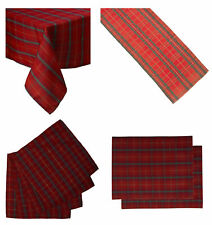 Red Tartan Check Tablecloth Runner Placemats or Napkins Home Dining Table Linen