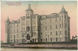St. Anthony's Hospital in Michigan City IN Postcard 1912