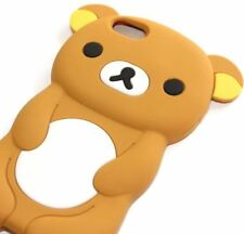 For iPhone 5S / SE - SOFT SILICONE RUBBER SKIN CASE COVER BROWN WHITE TEDDY BEAR