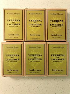 Lot of 6 New CRABTREE & EVELYN, VERBENA and LAVENDER Bath and Facial Soap Bars