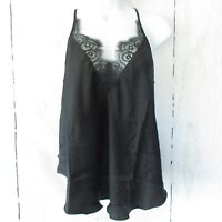 New Free People Starlight Cami Tank Top S Small Black Lace Strappy