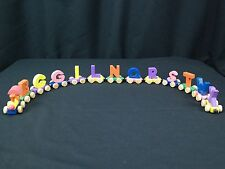 Mixed 13 PC Lot of Colorful Wooden Magnetic Alphabet Letter Train w/ Engine