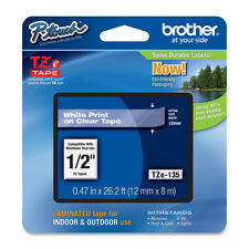 "Brother TZ135 TZe135 12mm 1/2"" white on clear TZ P-Touch tape PT1090 PT1290 1280"
