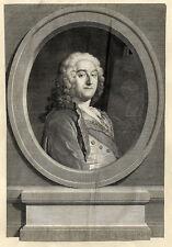 Grand Portrait de Jean François de Troy - Gravure originale du XVIIIe
