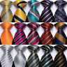 Mens Silk Tie Set Striped Black Gold Red Blue Gray Green Necktie Hanky Cufflinks