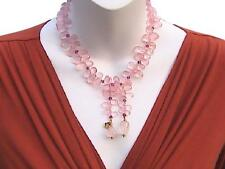 18k Natural Rose Quartz Pink Tourmaline Briolette Lariat Necklace