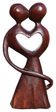 Schöne abstrakte Holz Figur Paar Kuss Liebe Herz Deko Handarbeit Bali A20.07