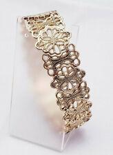 Filigree Metal Gold Tone Stretch Bracelet