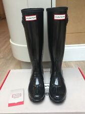 Damas Nuevo en Caja Hunter Original Tall Negro Brillante Wellies, Reino Unido 4 RRP £ 100