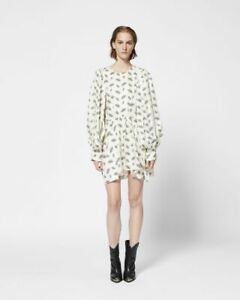 NWT Isabel Maranat Reone Dress Printed Puff Long Sleeve Silk Ecru Short M 38