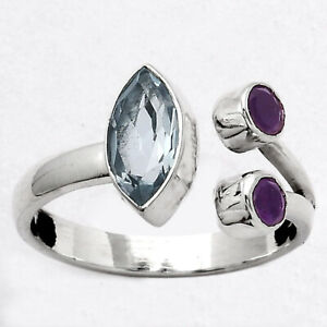 Natural Sky Blue Topaz and Amethyst 925 Sterling Silver Ring s.7 Jewelry E073