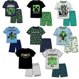 Boys Kids Children Minecraft Short Sleeve Cotton Pyjamas Pjs Sets Age 3-12years