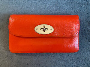 🧡 Mulberry Tangerine Postmans Long Locked Purse - Leather & Silver Hardware 🧡