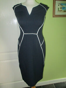 BNWT DOROTHY PERKINS SIZE 8 WOMENS NAVY TEXTURED OFFICE DRESS WITH WHITE TRIM