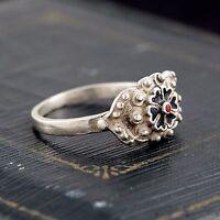 Antique Vintage Art Deco Sterling 950 Silver Southeast Asian Enamel Ring! Sz 6.5
