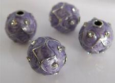 4 außergewöhnliche Perlen ca. 16mm groß lila emailliert marmoriert mit Strass