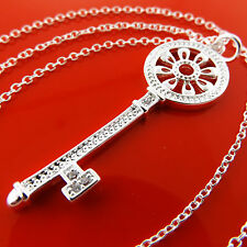 FSA970 REAL 925 STERLING SILVER S/F DIAMOND SIMULATED 21ST KEY PENDANT NECKLACE