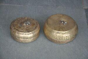 2 Pc Old Brass Round Shape Hammer Work Handcrafted Powder Box