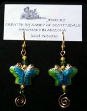 CLOISONNÉ BUTTERFLY EARRINGS WITH GOLD WIREWRAP & CRYSTAL by Sandy of Scottsdale