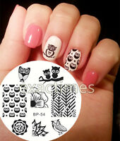BORN PRETTY BP54 Nail Stamping Template Image Plate Owls Flower Nail Art Stencil