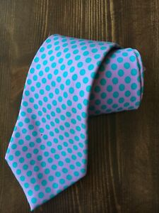 Turnbull & Asser London Pink with Blue Polka Dots 100% Silk Tie Made in England