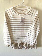 Crewcuts 3t Toddler Girls Sweater Ivory Gold Ruffle Bottom Striped