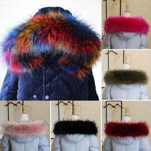 Women Winter Luxury Faux Fur Collar For Coat Down Jacket Hood Hat Scarf Shawl
