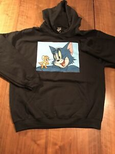 Tom and Jerry Themed Graphic Print Mens Black Large Hooded Sweatshirt. New