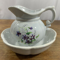 "Vintage McCoy Pitcher and Bowl #7528 Violets - Violet Purple Flowers 5½"" tall"