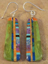 Ronald Chavez Kewa Dyed Mohave Turquoise Agate & Turquoise Earrings