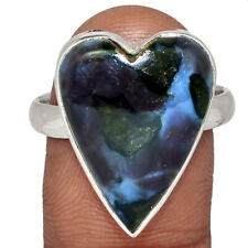 Heart - Mystic Merlinite Crystal - Madagascar 925 Silver Ring s.10 AR141526