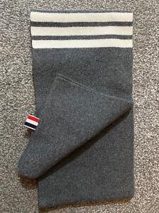 THOM BROWNE 4 bar stripe Merino wool grey scarf
