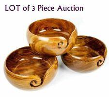 "Set Of 3 Crochet 6""x 3"" Wooden Bowl Handmade Wooden Yarn Bowl Knitting Bowl Gift"