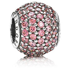 *Pair of Pandora Sterling Silver Pink Pave Lights Charms #791051CZS