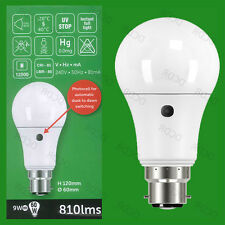 10x 9w = 60w LED GLS atardecer hasta Sensor Amanecer Seguridad Noche Bombilla