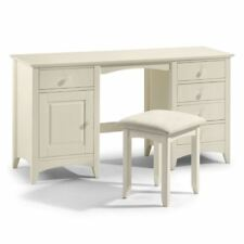 Cameo Stone White Solid Pine Wood Double Dressing Table 5 Drawer Bedroom Storage