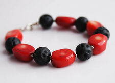 Handcrafted Red Coral Black Lava Genuine Semi-precious Gemstone Bracelet Gift