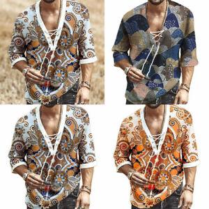 Men Short Sleeve African Dashiki Printed T Shirt Hippie Ethnic Party Top Blouse