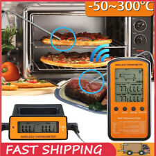 Remote Cooking Thermometer Digital BBQ Grill Oven Meat Wireless Smoker & Timer