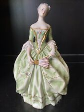 Capodimonte Ginori Lady Green Dress Fan Porcelain Figurine Italy