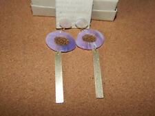 ANTHROPOLOGIE EARRINGS PURPLE RESIN GLITTER GOLD BAR DANGLE NEW TAG $48
