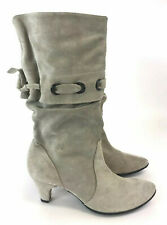 Berberg Ladies Grey Leather Suede Ankle Slough Boots Size EU36 UK3 Winter Boots
