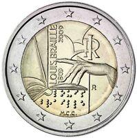 Italien 2 Euro 2009 Blindenschrift Louis Braille Gedenkmünze bankfrisch