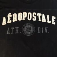 Men's Vintage Black/White Aeropostale Sew On Spell Out T Shirt Single Stitch
