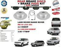 FOR RANGE ROVER III 3.0D 4.2 4.4 REAR AXLE BRAKE DISCS + PADS with WIRE SENSORS