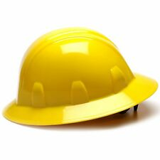 Pyramex Hard Hat Full Brim Yellow with 4 Point Ratchet Suspension