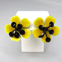 Yellow and Black Pansy Enamel Earrings Clip On Vintage Spring Summer
