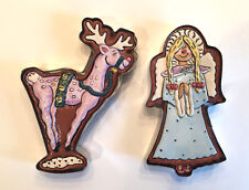 2 Blue Sky Clayworks Heather Goldminc Reindeer & Angel Cookie Cutter Stamps XMAS