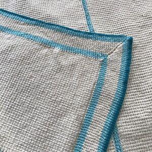 Handmade Crochet Knit Afghan Turquoise Teal Cream Ivory 48x50